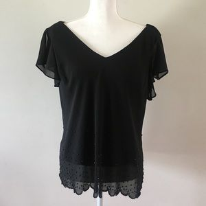 Dress Barn V-Neck Black Short Sleeve Blouse